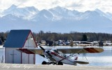 Super Cub at Lake Hood, Chugach Mountains, Anchorage, Alaska