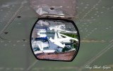 DHC-2 Beavers in side mirror, Eagle Nook Resort, Jane Bay, Vancouver Island, BC, Canada