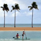 Paddle boarders at Duke Kahanamoku Lagoon Waikiki Beach Oahu Hawaii 060