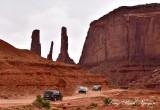 Three Sisters and Mitchell Mesa Monument Valley Scenic Drive Navajo Tribal Park Arizona 691