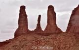 Three Sisters and Mitchell Mesa Monument Valley Navajo Tribal Park Arizona 725