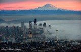 Red Sky over Mount Rainier, Foggy Downtown Seattle, Space Needle, Washington 5