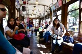 Tourists in F Trolley on Embarcadero San Francisco 413