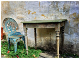 Old table & chair