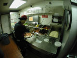 working at the hut