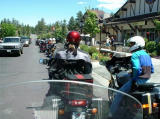 Concours riders Linda and Pete near the rear of the group in Big Bear.