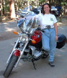 Lisa and her 2000 BMW R1100R.