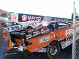 Nitro funny car in staging lane