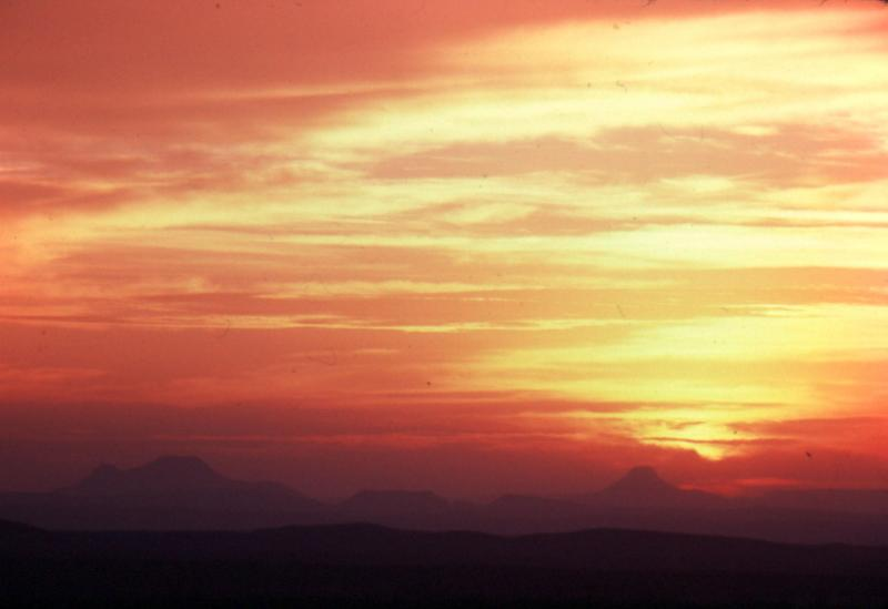 Driving into Big Bend National Park, Good Friday sunrise:  1978.