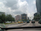 Entering the medical center in downtown Houston.