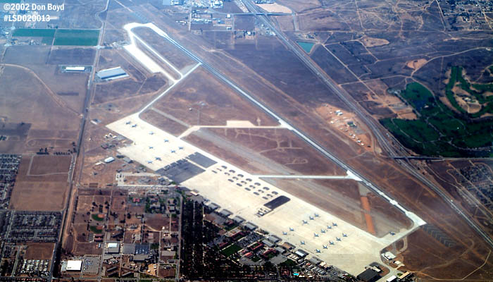 2002 - March Air Reserve Base, California airport aerial stock photo