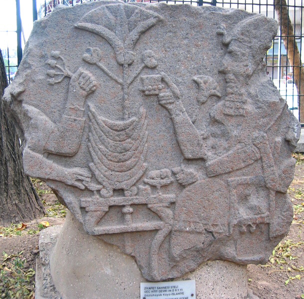 Front garden has stelae with reliefs made of basalt<br>depicting Hittite Period funeral banquets