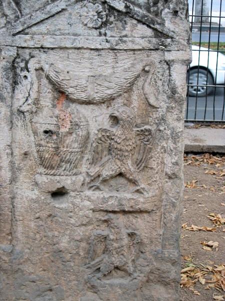 Eagle motif representing the Roman Period man and<br>wool basket motif representing the woman