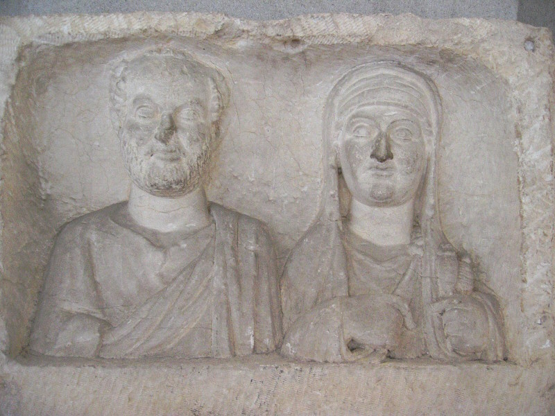A couple, in the Belkis  / Zeugma Hall in the museum