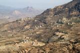 Small villages dot the mountainside between Manakha and Al-Khutayb