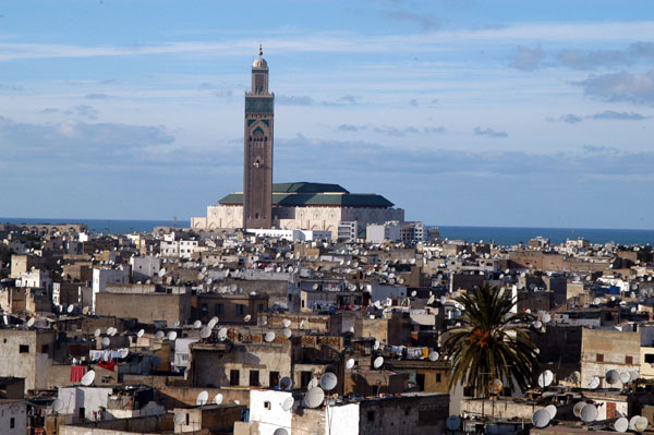 View of the Hassan II Mosque over the old medina