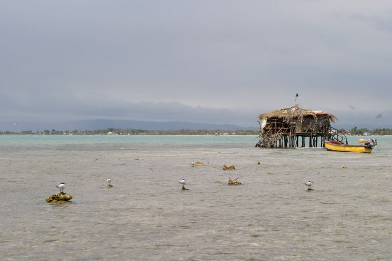 Pelican Bar is planted on a sandy reef about half a mile offshore