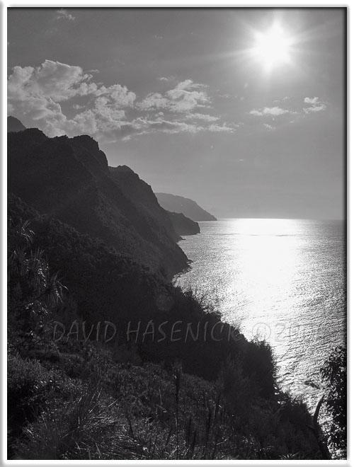 Napali Cliffs view from Kalalau Trail (BW)
