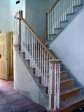 The stair railings and balusters are installed