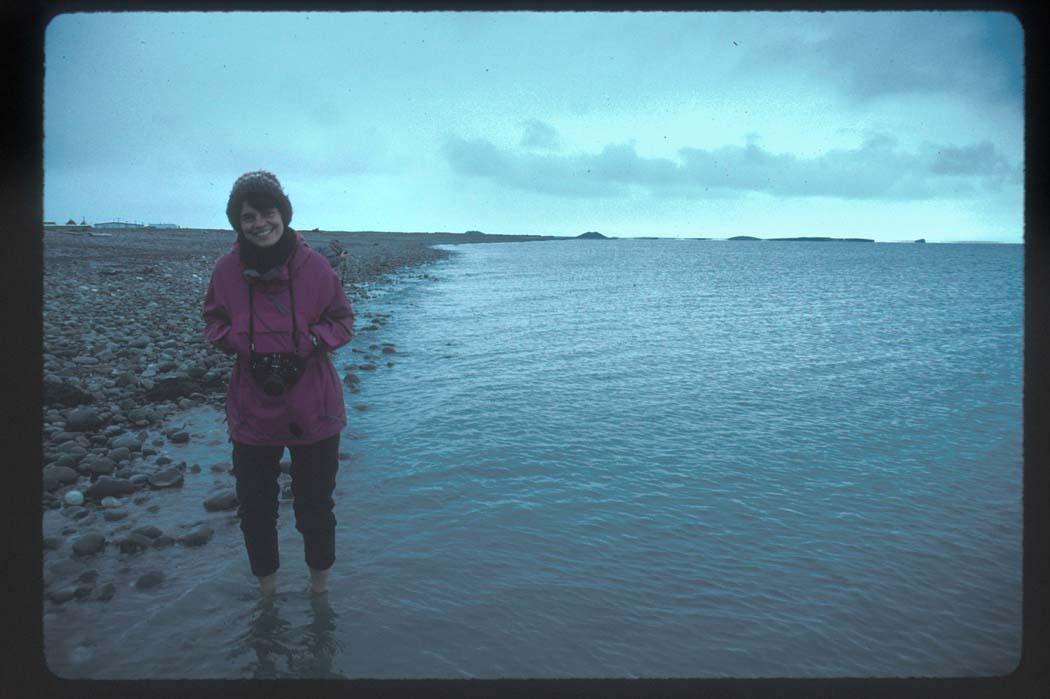 Ankle-Deep In The Beaufort Sea (Arctic Ocean):  Karen At Tuktoyaktuk, NWT
