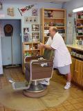 barber Bill watchingTV after my hair cut
