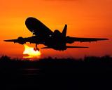 Sunset Skies and Lockheed Aircraft Stock Photos