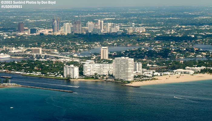 2003 - Port Everglades Inlet and downtown Ft. Lauderdale landscape aerial stock photo #7084