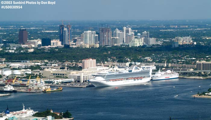 2003 - Port Everglades and downtown Ft.  Lauderdale landscape aerial stock photo #7089