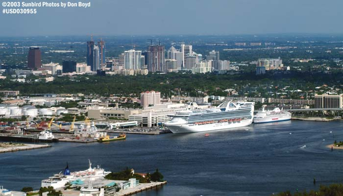 2003 - Port Everglades and downtown Ft. Lauderdale landscape aerial stock photo #7090
