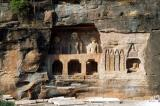 Numerous large Jain sculptures are carved into the side of Gwalior Fort