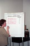 Laila skrivar niður stemmur - votes counted