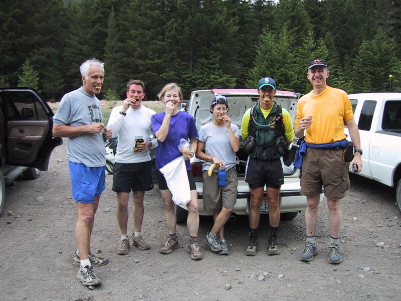 Eating cookies! - John, Charlie, Marlis, Kat, Tony & Ron - Buck Creek 27.5 miles