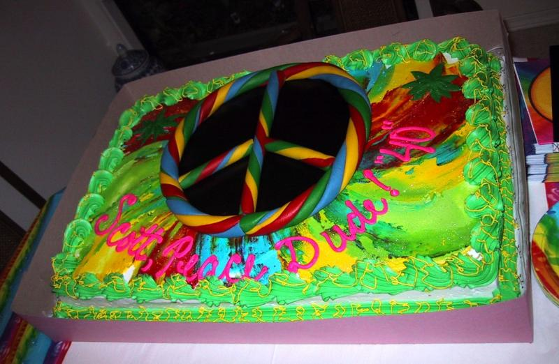 Scotts birthday cake -- Lets burn one, dude