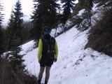Encountering snow on the way to Corral Pass