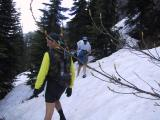 Traversing snow on a 45 degree slope