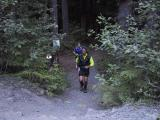 Tony & Marlis emerging from the Skookum Flats Trail - 1/4 mile to the cars to finish