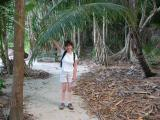Cherrie with a big palm frond.