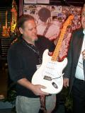 John Page with the clone Strat to be displayed at the Fender Museum