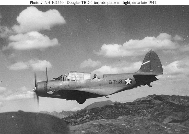 Douglas TBD-1 torpedo <br>plane circa late 1941