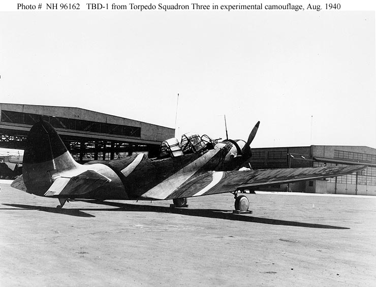 TBD-1 from Torpedo squadron 3 in experimental camouflage August 1940
