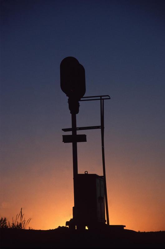 BN signal Casa, WY at sunset