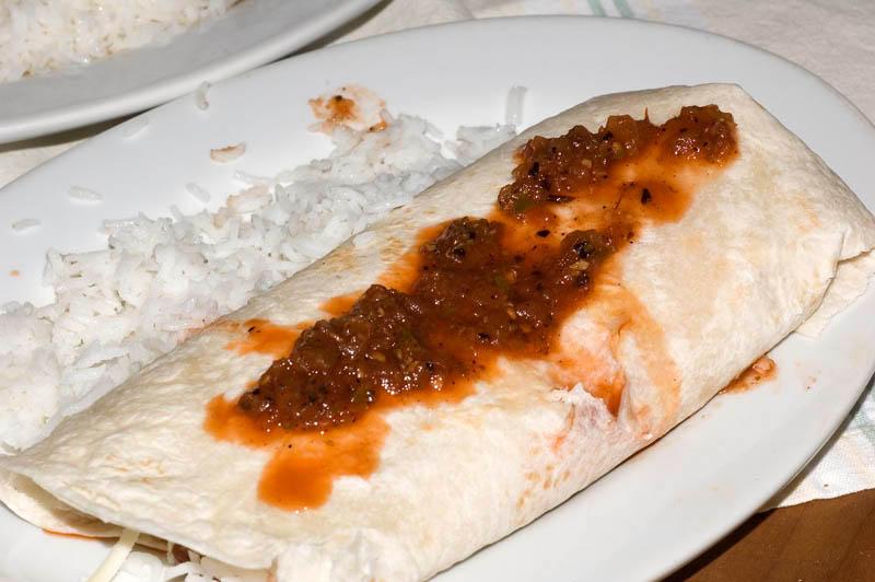 bean burrito with rice