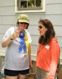 Becky Pyle, wearing her ribbons, with BURP regular Sarah Jazs