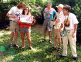 ...while Sarah Jasz wins the grand prize, a case of Dominion Spring Brew (a Helles lager)...