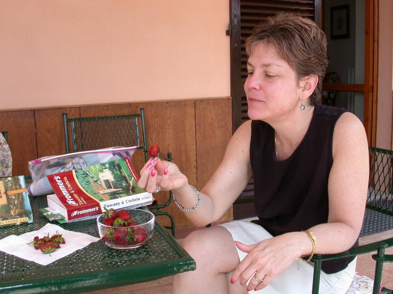 Jill Enjoying a Snack at Our Villa in Umbria