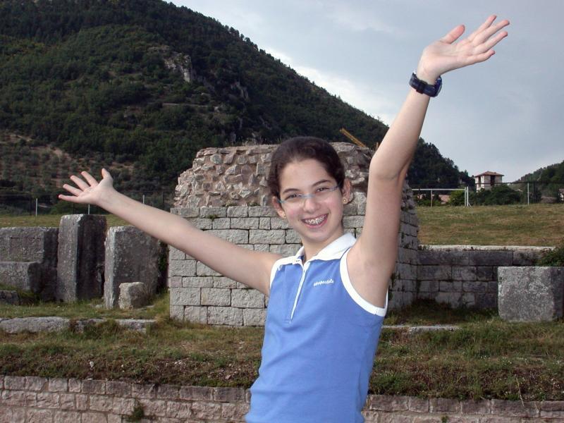 Samantha at the Roman Theater, Gubbio