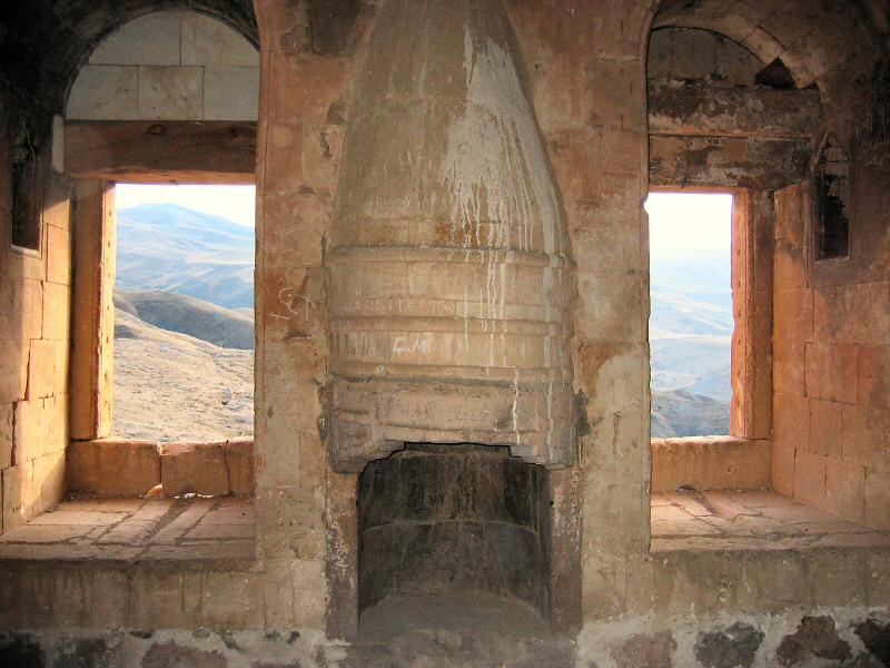 Typical warm looking harem room with<br> fireplace and view.