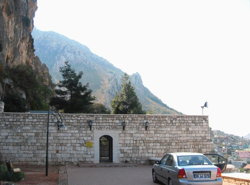 Alas, the cave church, under a cliff  of Habib Necar Mountain, was closed.<br>Antakya below.