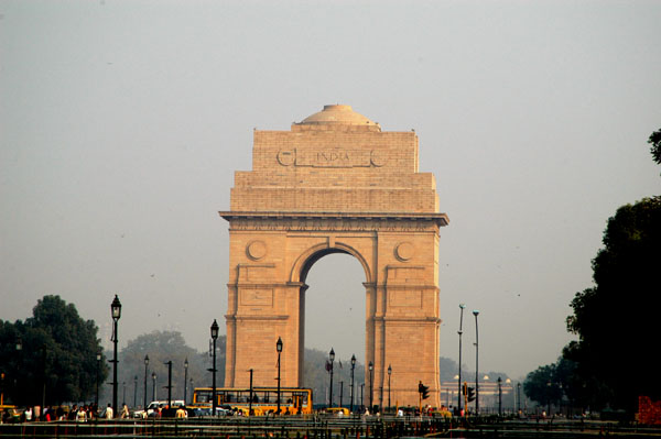 The India Gate lies at the oppoite end of a broad mall, the Raj Path, from the Presidential Palace