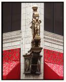 Kaufmann's clock is bordered by holiday awnings in bright RED!